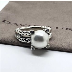 David Yurman Cable Ring Diamonds Freshwater Pearl